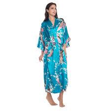 plus size silk robe blue chinese women long silk rayon robe kimono yukata bath gown sexy