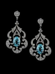 estate chandelier earrings with aquamarines and diamonds in platinum