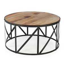 round wood coffee table with black metal base