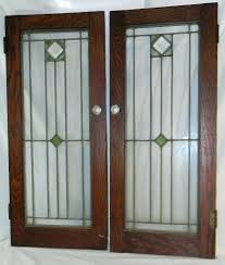 leaded glass cabinet doors. bookcase: 2 antique oak stained leaded glass cabinet bookcase doors arts crafts mission c