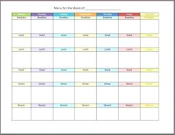 Printable Diet Calendar Template Free Weekly Planner Food