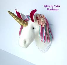 unicorn head wall decor soft plush