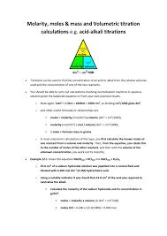 Titration Formula Molarity Moles Mass And Volumetric Titration Calculations