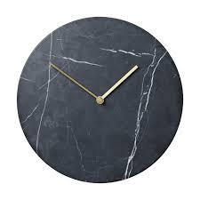 Small Picture Modern Designer Menu Wall Clock Black MarbleBrass Metal