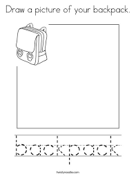 Small Picture Draw a picture of your backpack Coloring Page Twisty Noodle