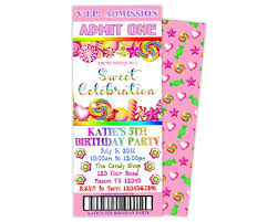 Party Ticket Invitations Impressive Candyland Birthday Ticket Invitations Party Print Express