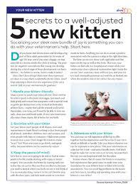 Kitten Socialization Chart Client Handout Kitten Socialization