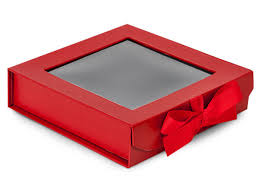 Red Folding Box With Window And Ribbon Closures 6x6x1 5