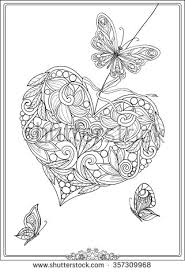 Small Picture Decorative Love Heart with flowers and butterflies Valentines day
