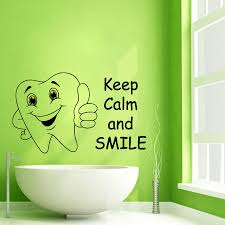 Wall Decals Cute Tooth Keep Calm And Smile Vinyl Sticker Murals ...