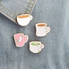 <b>Creative Cartoon</b> Metal <b>Coffee</b> Tea Cup With Cat Badge T-Shirt Pins ...