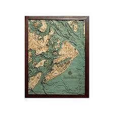 Nautical Wood Charts Hilton Head Wood Map 3d Carved Nautical Chart Relief Art