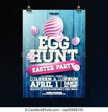 Vector Egg Hunt Easter Party Flyer Illustration With Painted Eggs Flowers And Typography Elements On Vintage Wood Texture Background Spring Holiday