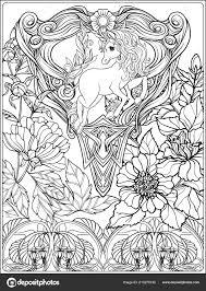 Eenhoorn En Fantastische Vintage Bloemen Vectorillustratie