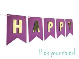 Purple Happy Birthday Banner Bright Purple Happy Birthday Banner With Gold Letters Gold Etsy