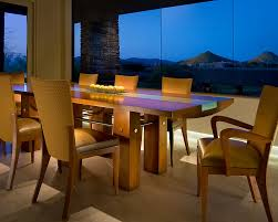 half circle dining table dining room contemporary with centerpiece glass inlay glass image by angelica henry design