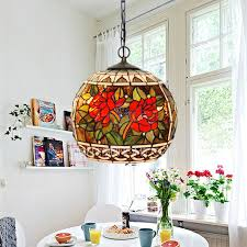 Decorative Rose Pattern Stained Glass Global Kitchen Pendant Light Nice Design