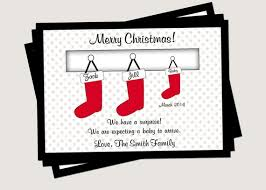 Christmas Pregnancy Announcement Family Stockings 8 Count With Envelopes