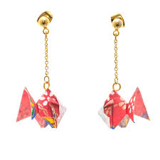 Japan Centre Origami Goldfish Earrings Red Japan Fan