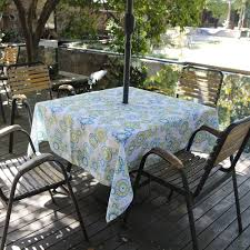 decor tips outdoor white cotton tablecloths with umbrella hole and