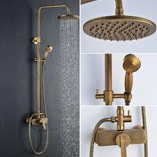 Retro Duschsystem Rund Regendusche Duschset Duschkopf