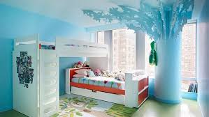 Blue Wall Small Designs For Small Room White Bed Frame On The