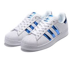 adidas shoes blue and white. adidas superstar white royal blue stripes women sizes 6-11 shoes and e