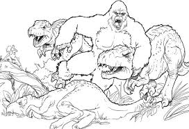 King Kong Fighting With Dinosaurs Coloring Page King Kong King