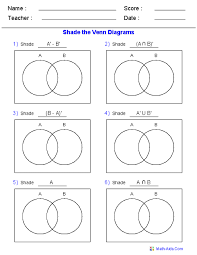 Venn Diagram Sets Worksheet 8 Venn Diagram Worksheets Shade The Regions Using Two Sets Math