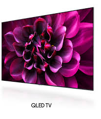 samsung tv qled price. the strong red flower image on screen of qled tv only with a bezel is samsung tv qled price