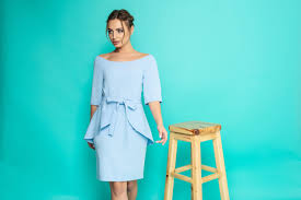 Light Blue 3 4 Sleeve Dress Business Dress Theresia In Baby Blue Light Blue With 3 4