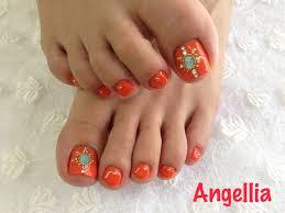 オレンジ ジェルネイル フット