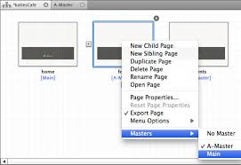 Working with Master Pages and add headers in Muse