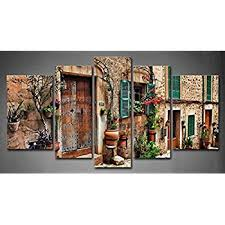 5 panel wall art streets of old mediterranean towns flower door windows painting the picture print on mediterranean canvas wall art with amazon 5 panel wall art streets of old mediterranean towns