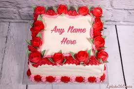 write name on red rose birthday cake images