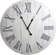 Large White Washed Wooden Wall Clock With Silver Metal Roman Numerals
