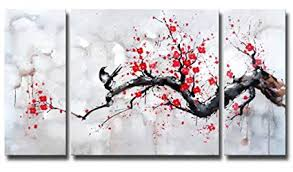 black white red modern abstract cherry blossom wall art picture 3pcs oil paintings on canvas handmade on red black white wall art with amazon black white red modern abstract cherry blossom wall art