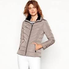 maine new england taupe fur trim hooded padded down jacket 0200103300 gtwxvri women s coats jackets