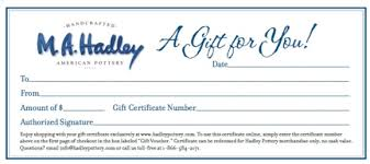 hadley pottery gift certificate