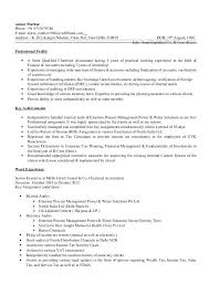 Professional Resume For Chartered Accountants Resume For Accountants