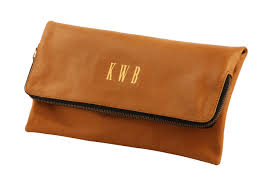 tan monogrammed leather leather clutch foldover clutch personalized women s handbag gift for her bride to be