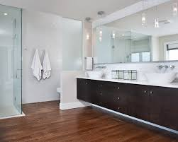 Bathroom Partition Walls Modern Clean Master Ensuite With Curbless Shower Floating Vanity