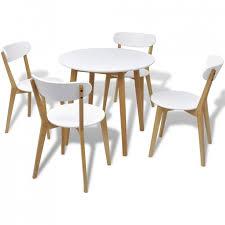 Table De Cuisine Scandinave Ronde Et 4 Chaises Naturel Et Blanc Domu