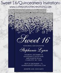 Invitations Quinceanera Navy Blue And Silver Sweet 16 Invitations Quinceanera