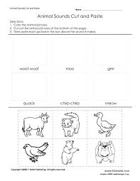 Animal Sounds Cut and Paste Worksheet for Kindergarten - 1st Grade ...