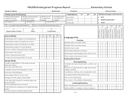 Printable Progress Reports For Elementary Students Kindergarten Social Skills Progress Report Blank Templates