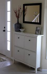 Use this idea in bathroom for narrow storage area. HEMNES shoe cabinet from  IKEA with mirror over it? Hmmm it's a possibility!