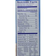 blue diamond unsweetened almond milk nutrition facts
