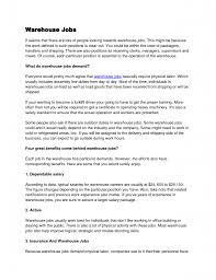 Warehouse Lead Position Resume 26 Job Description Sample