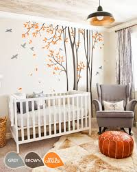 large nursery wall decal set with grey birds and orange leaves tree wall decals
